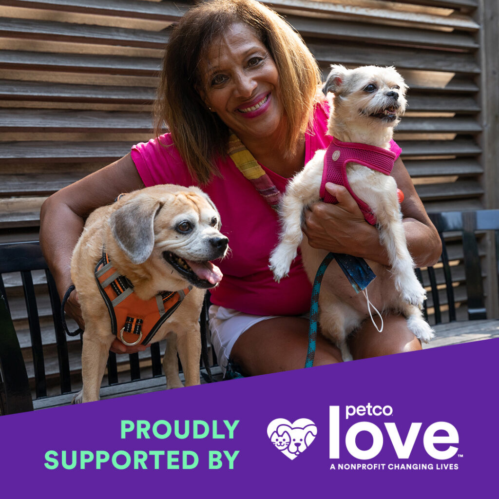 Edna, Maxine and Pepa smile for the camera, with an overlay graphic that says Proudly Supported by Petco Love