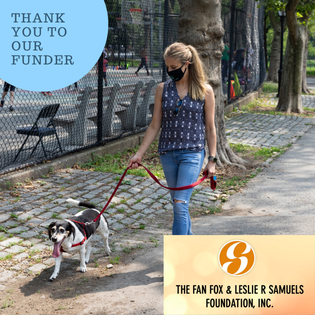 Thank you to our funder: The Fan Fox & Leslie R Samuels Foundation  A blonde woman wearing jeans and a tank top is seen walking a black-and-white dog on a red leash, outside in a park past a basketball court.
