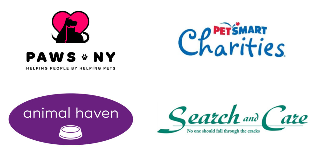 The Logos of PAWS NY, PetSmart Charities, Animal Haven, and Search and Care.